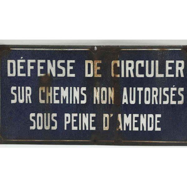 French French Rustic Blue and White Sign For Sale - Image 3 of 5