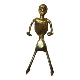 Vintage Modernist Gilt Metal Figure Sculpture1960s Americana For Sale