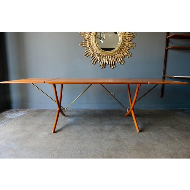 Early Hans Wegner for Andreas Tuck Model AT-304 drop leaf dining table, circa 1955. Original excellent condition, hardly...