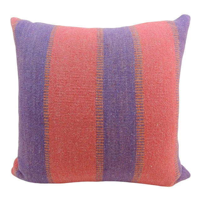 Large Floor Pillow in Blue and Red Woven Stripes For Sale