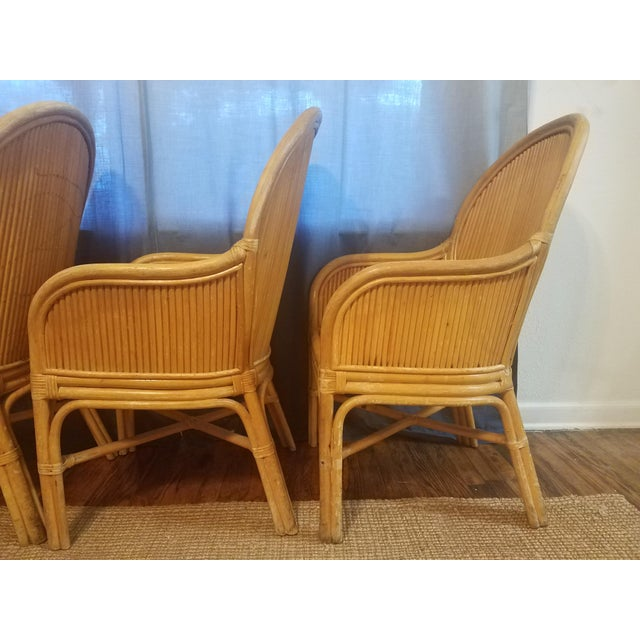 Palm Beach Pencil Reed Rattan Dining Chairs - Set of 4 For Sale - Image 9 of 10