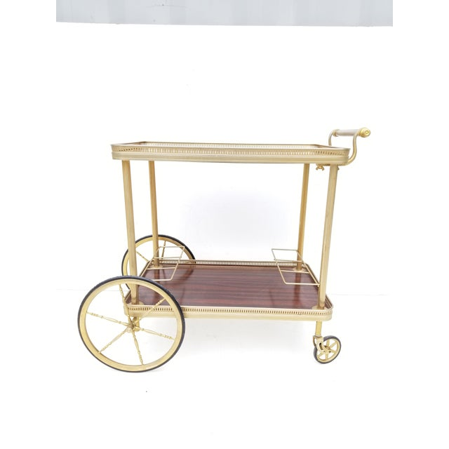 Metal Maison Jansen French Neoclassical Brass Bar Cart For Sale - Image 7 of 8