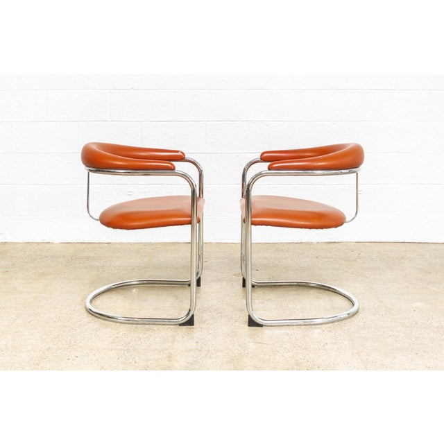 Metal Vintage Mid Century Modern Bauhaus Anton Lorenz Burnt Orange Cantilever Arm Chair For Sale - Image 7 of 10
