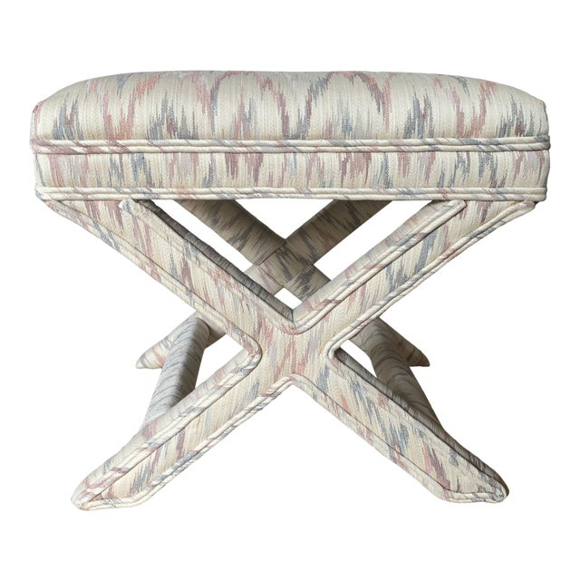Vintage Weiman Upholstered X Bench For Sale