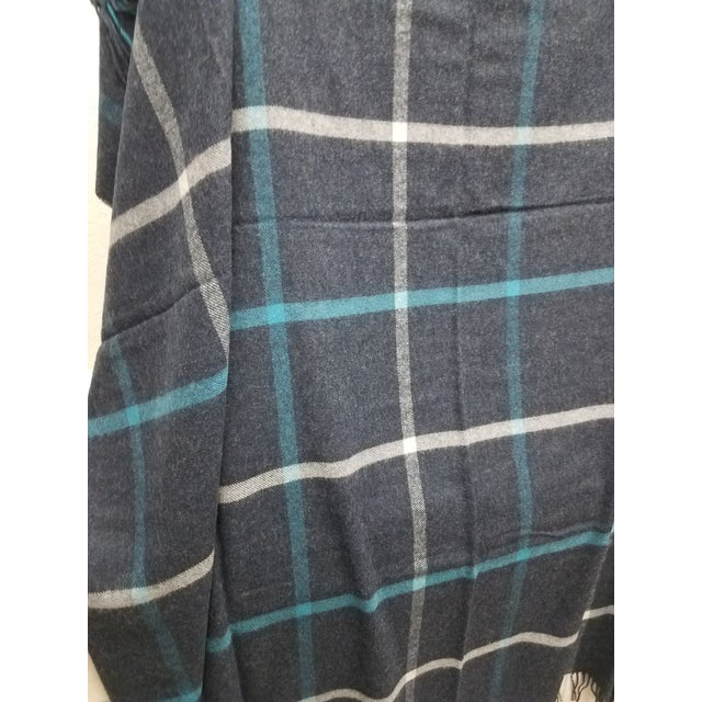 2020s Merino Wool Throw Blue and Aqua - Made in England For Sale - Image 5 of 9