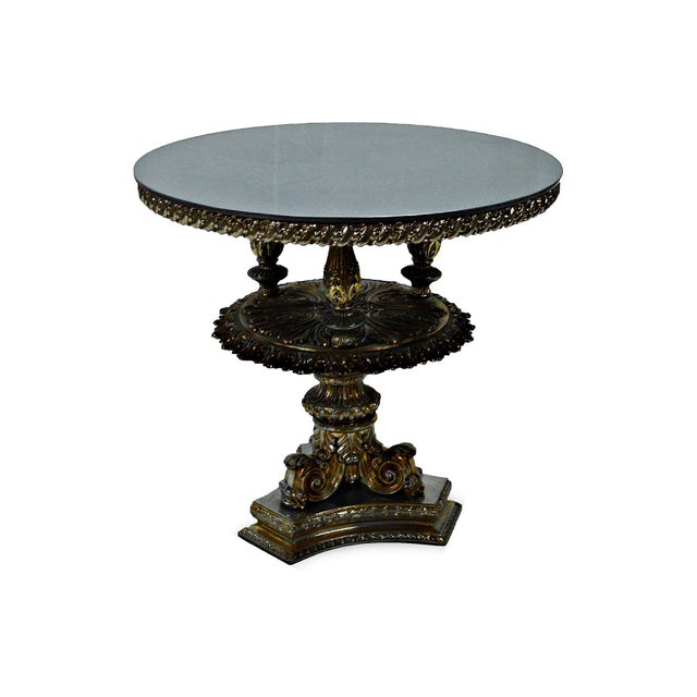 Gold Pewter Metal Cake Stand or Auxiliary Table For Sale