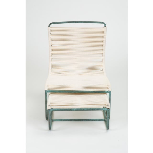 Mid-Century Modern Sleigh Chair and Ottoman by Walter Lamb for Brown Jordan For Sale - Image 3 of 13
