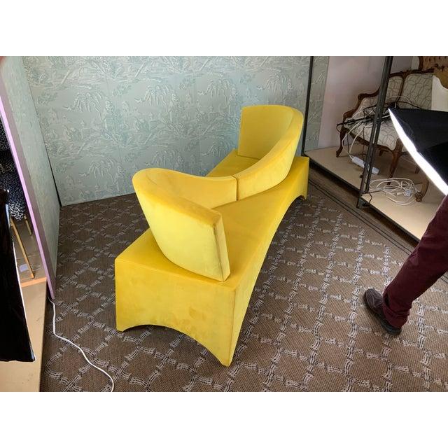 1970s Vintage Mid Century Modern Yellow Velvet Loveseat For Sale - Image 4 of 6