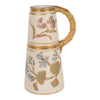 Hand-Painted Gilded Art Nouveau Bonn Royal Worcester Vase with Floral Motif For Sale