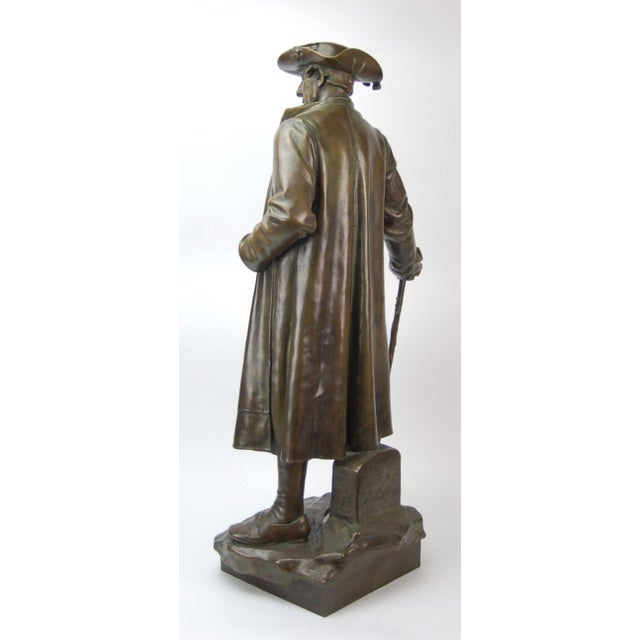 1887 Austrian Bronze Genre Statue of Man in Duster Coat W Cane and Bush Hat For Sale - Image 4 of 7