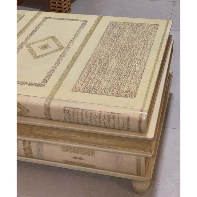 Neoclassical White-Parchment Leather Book Coffee Table by Maitland-Smith For Sale - Image 9 of 10