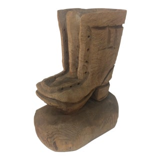 Carved Wooden Boot Planter