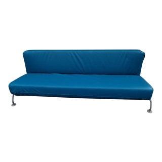 1990s Vintage B&B Italia Blue Leather Lunar Sleeper Sofa For Sale