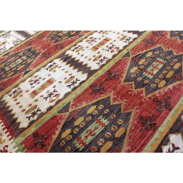 1960s Mid-Century Modern Rectangular Danish Area Rug 1960s Red Green Yellow For Sale - Image 5 of 6
