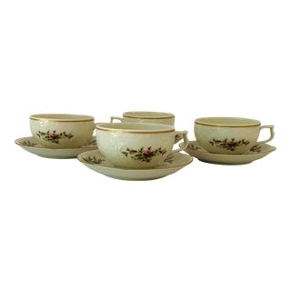 Vintage Rosenthal Classic Rose Collection Sans Souci Set of 4 Teacups &Saucers For Sale