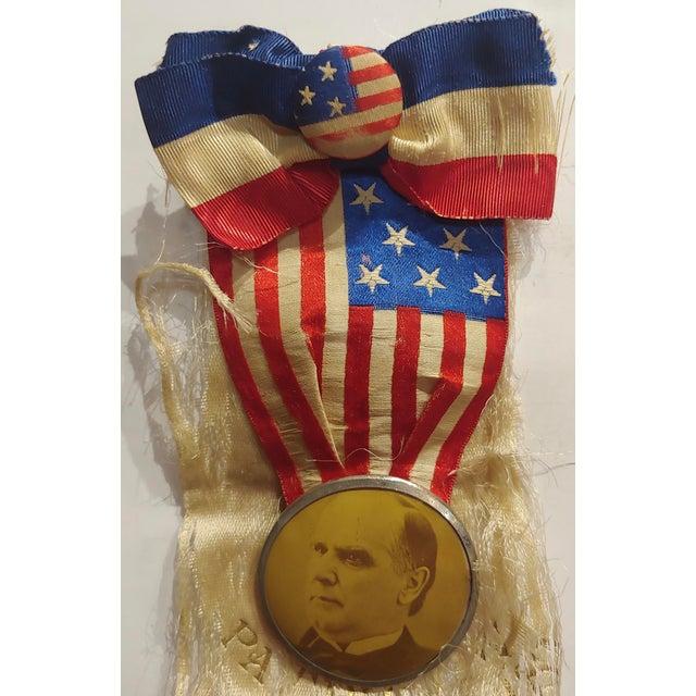 "William Mckinley 1896 US Presidential campaign lapel Button w/Ribbon size 3"" x 8"" Biography William McKinley was born..."