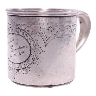 Antique Sterling Child's Christmas Cup Dated Dec. 25, 1919 For Sale