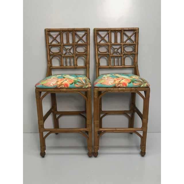 1960s Rattan Bar Stools With Carved Pineapple Feet - a Pair For Sale - Image 9 of 9