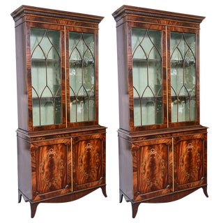 Regency Style Pair of Inlaid Wood Cabinets With Blown Glass Doors For Sale