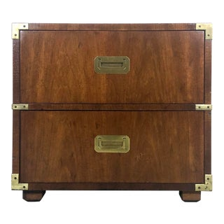 Mahogany & Brass Henredon Campaign Chest / Nightstand For Sale