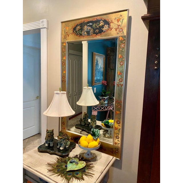 Gold Vintage Labarge Eglomise Chinoiserie Mirror For Sale - Image 8 of 10