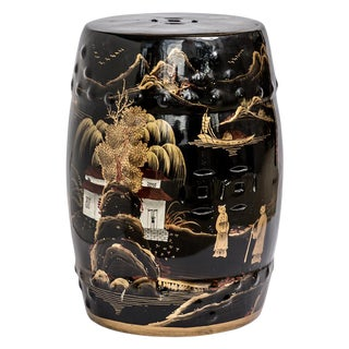 Chinese Chinoiserie Black & Gold Ceramic Garden Stool For Sale