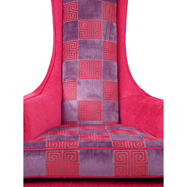 Hot Pink Greek Key Highback Wing Chairs - Pair - Image 2 of 7