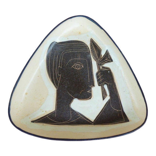 1960s Vintage Philippe Lambercy Studio Pottery Tri-Corner Dish For Sale