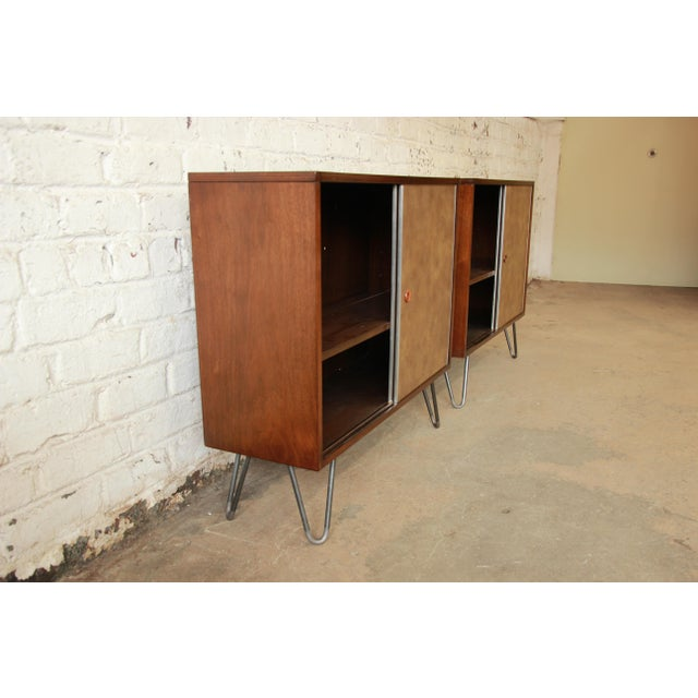Paul McCobb for Calvin Small Cabinets on Hairpin Legs- a Pair - Image 7 of 9