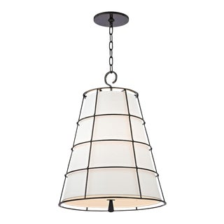 Caged Bronze Pendant with Inset Parchment Shade For Sale