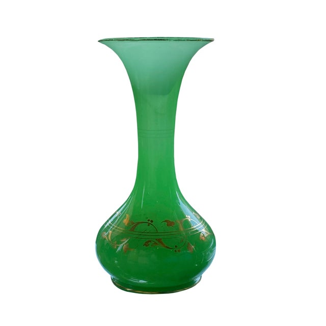 Antique French Green Opaline Glass Vase For Sale In Dallas - Image 6 of 6