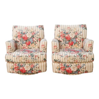 Floral Swivel Glider Lounge Chairs - a Pair For Sale