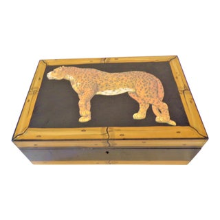 Vintage Leopard and Bamboo Humidor Box For Sale