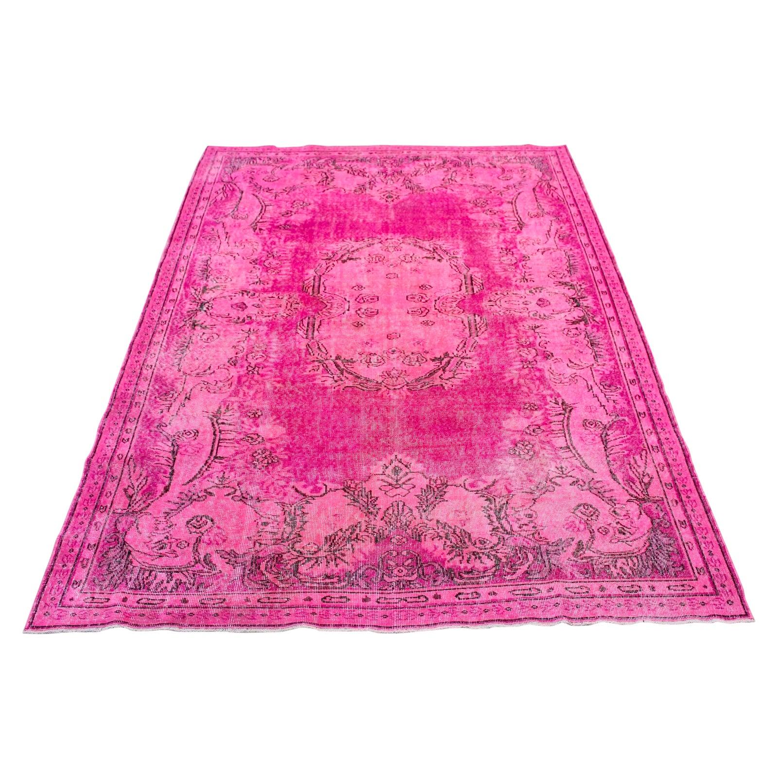 Pink Colour Turkish Overdyed Oushak Rug