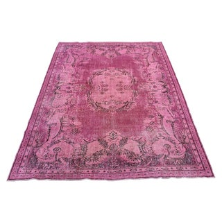 Pink Colour Turkish Overdyed Oushak Rug - 6′10″ × 10′4″ For Sale