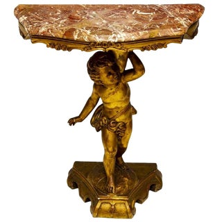 19th Century Italian Carved Giltwood Putto Cherub Marble Top Console Table For Sale
