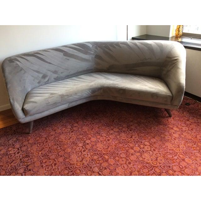 Vladimir Kagan for Weiman Gray Velvet Angled Sofa - Image 4 of 8