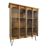 Image of Vintage Mid-Century Modern Bookcase / China Display Cabinet With Glass Doors For Sale