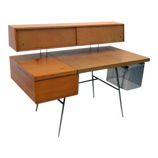 George Nelson Wood and Leather Office Desk for Herman Miller, Usa, 1948 For Sale