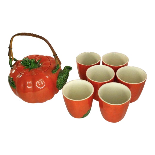 1960s Mid-Century Japanese Tomato Teapot & Cups - Set of 7 For Sale