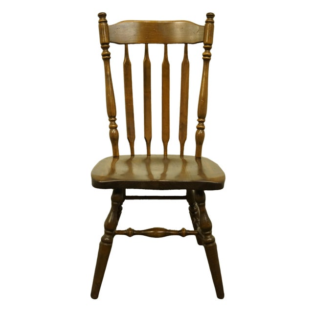 Late 20th Century Ethan Allen Antiqued Pine Old Tavern Cattail Back Dining Side Chair For Sale - Image 10 of 10