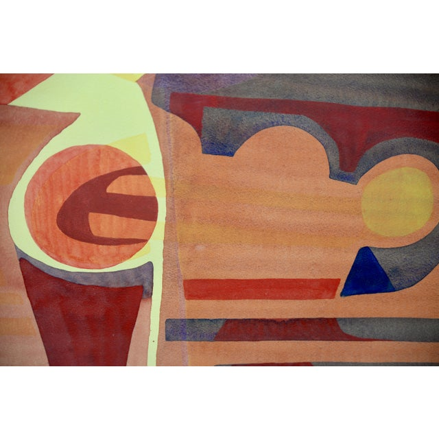 """Katherine Barieau (1917-2010) """"Child's Room"""" Abstract Watercolor c.1967 Fantastic original watercolor by listed artist..."""
