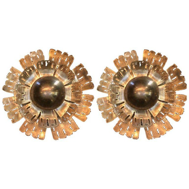 1960s Danish Flame Brass Flower Wall Lights by Holm Sørensen - a Pair For Sale - Image 13 of 13