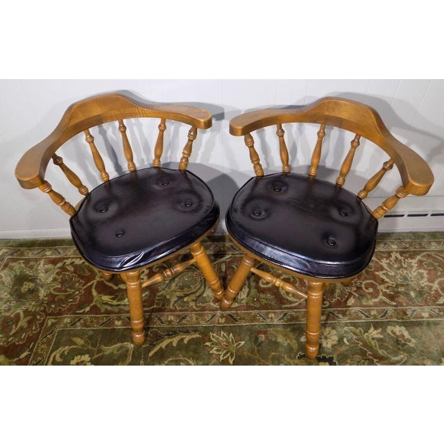 Set of 4 George B. Bent Solid Maple Windsor Swivel Chairs For Sale - Image 6 of 13