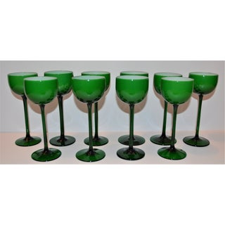 Carlo Moretti White Cased Melon Green Stemware - Set of 10 Preview
