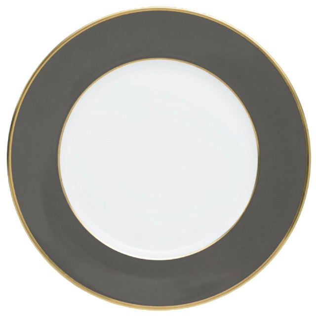 """Schubert"" Charger in Dark Gray & Narrow Gold Rim For Sale - Image 13 of 13"