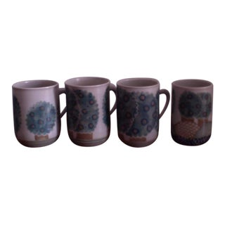 Hand Painted Coffee Mugs - Set of 4 For Sale