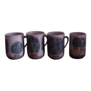 Hand Painted Coffee Mugs - Set of 4