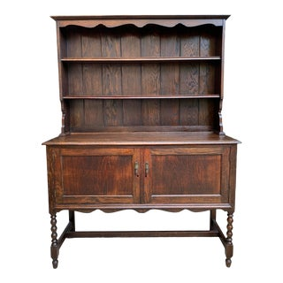 Antique English Oak Welsh Dresser Sideboard Buffet Jacobean Hutch 20th Century For Sale