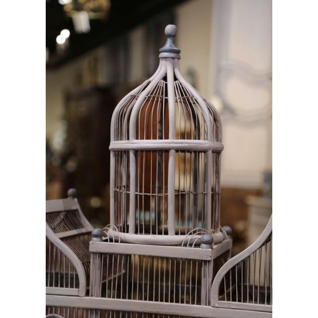 Gray Early 20th Century French Carved and Painted Wooden and Wire Birdcage For Sale - Image 8 of 10